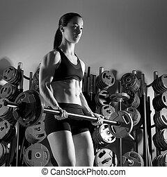 barbell, 婦女, 測驗, 健身, 在, 舉重, 體操