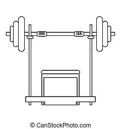 barbell and bench icon