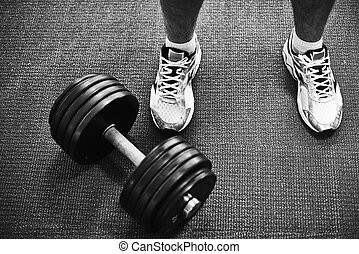 Barbell and feet