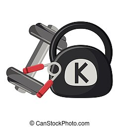 barbell and handgrip with kettlebell