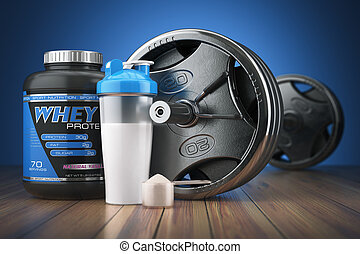 Barbell and whey protein shaker. Sports bodybuilding...