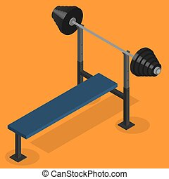 Barbell bench press in 3D, vector illustration.