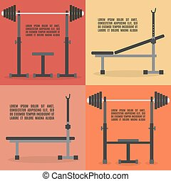 Barbell bench press in flat style, vector illustration.