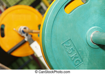 Barbell closeup , health and sports background - Barbell...