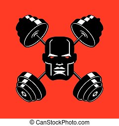 Barbell Crossed emblem for gym. head of bodybuilder sign. Sports Fitness logo