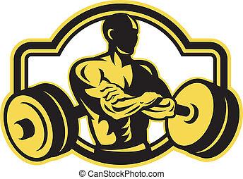 barbell, cruzado, retro, weightlifter, braços