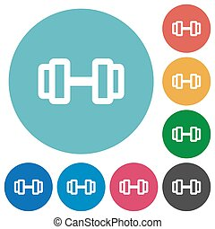 Barbell flat round icons