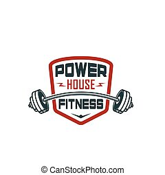 Barbell gym fitness bodybuilding club vector icon - Gym...