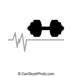barbell heart rate icon design graphic