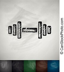 barbell icon. Hand drawn vector illustration. Chalkboard...