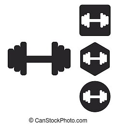 Barbell icon set, monochrome