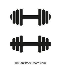 Barbell icons on white background
