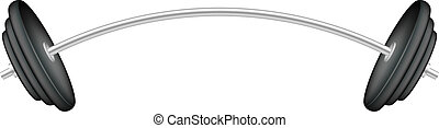 Barbell in silver and black design on white background