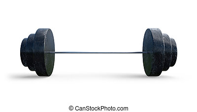 Barbell isolated on white background. 3D rendered illustration.