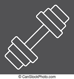 Barbell line icon, fitness and sport, dumbbell sign vector graphics, a linear pattern on a black background, eps 10.