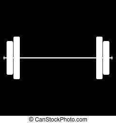 Barbell the white color icon .