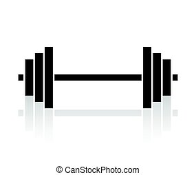 Barbell - Vector illustration of the barbell with weights on...