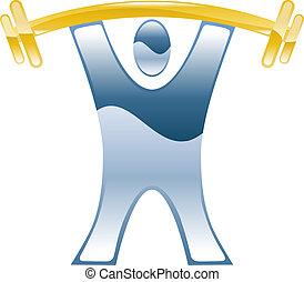 barbell, weightlifting, ikona