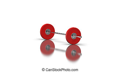 Barbell with 1 disc on both sides angle 2 view 3d render