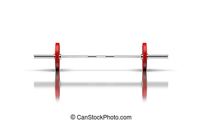 Barbell with 1 disc on both sides front view 3d render