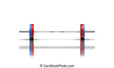 Barbell with 2 discs on both sides front view 3d render