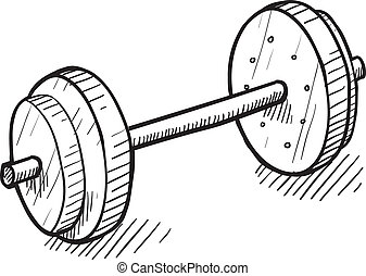 Barbell workout sketch - Doodle style barbell or dumbell ...