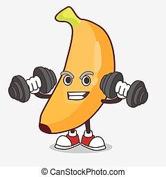 barbells, personagem, tentando, mascote, exercício, banana, caricatura, fruta, condicão física