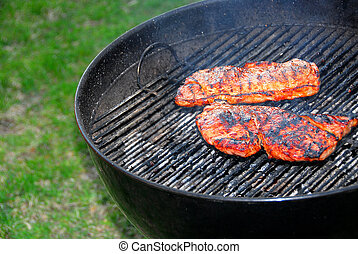 Barbeque and steaks - Wood burning barbeque and steaks
