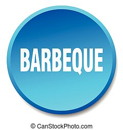 barbeque blue round flat isolated push button
