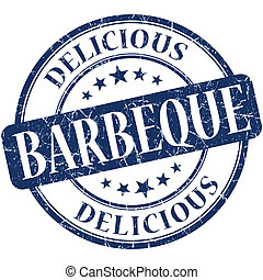 Barbeque blue round grungy vintage rubber stamp