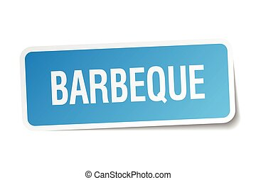 barbeque blue square sticker isolated on white