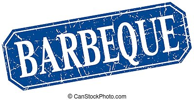 barbeque blue square vintage grunge isolated sign