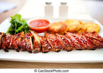 barbeque, carne di maiale, costole, -, prezzemolo, piatto,...