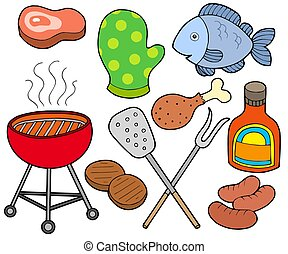 Barbeque collection on white background - isolated...