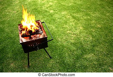 Barbeque fire on a lawn