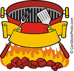Barbeque grill over flaming charcoal, fork and spatula with ...