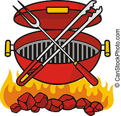 Barbeque grill over flaming charcoal with crossed fork and ...