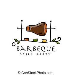 Barbeque, grill party. Logo design