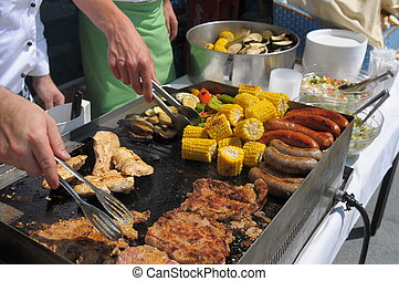 Barbeque - Grilled corn, sausages and meat