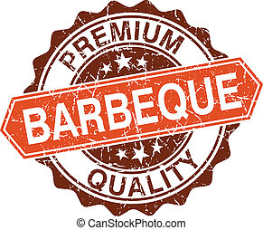 Barbeque grungy stamp isolated on white background