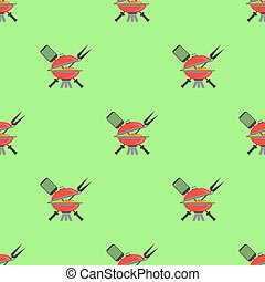 Barbeque Icon Seamless Pattern. Grill Background.