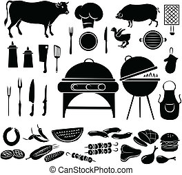 Barbeque Icon Set - vector illustration of barbecue items in...