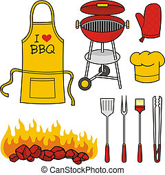 Barbeque icons - A set of barbeque icons isolated on white...