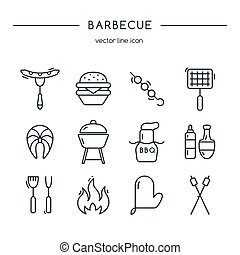 Barbeque icons line set.