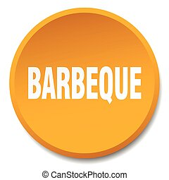 barbeque orange round flat isolated push button