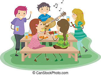 Barbeque Party 2 - Illustration of People having a Barbeque...