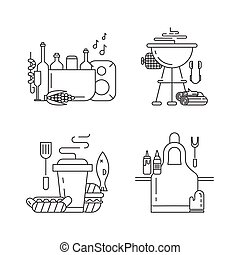 Barbeque party icons set