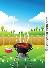 Barbeque party poster - A vector illustration of barbeque...
