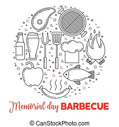 Barbeque party poster with grill, steak, beer and sausage
