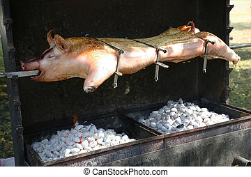 Barbeque - Pig ready for barbeque roast.